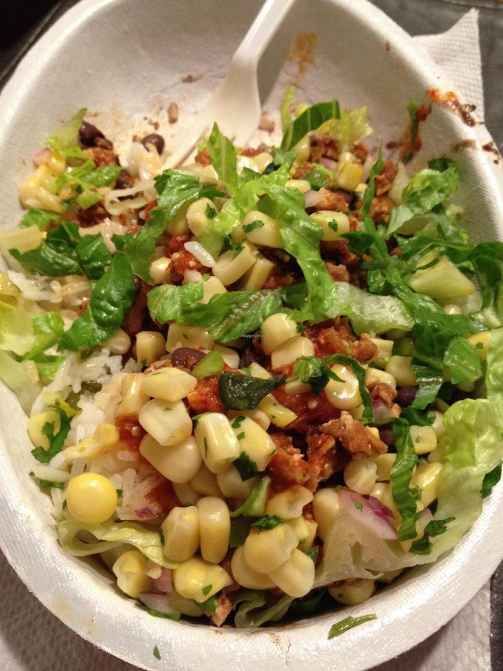 """Photo of Chipotle  by <a href=""""/members/profile/Tigra220"""">Tigra220</a> <br/>My sofritas bowl: 1/2 white, 1/2 brown rice, sofritas, black beans, corn salsa, hot salsa, & lettuce <br/> September 2, 2014  - <a href='/contact/abuse/image/50925/78876'>Report</a>"""
