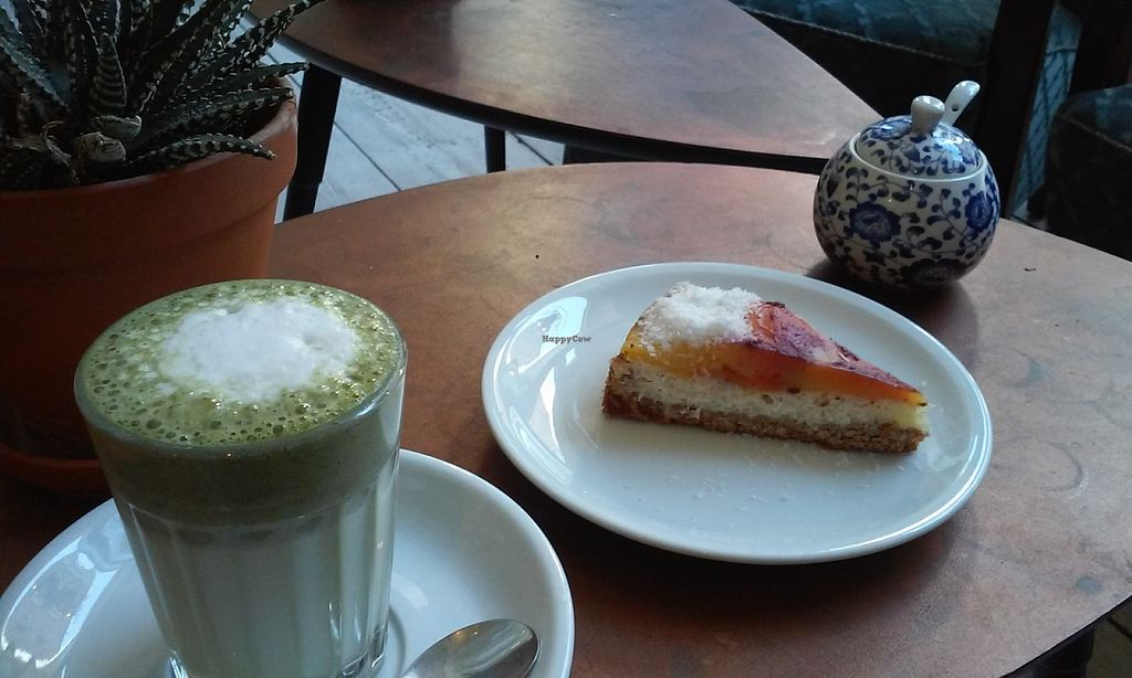 """Photo of CLOSED: Charlie's Vegan Food & Coffee  by <a href=""""/members/profile/SimoneS"""">SimoneS</a> <br/>Mango rice cake and Matcha Latte with almond milk at Chalie's Asian Bakery in Berlin <br/> November 14, 2015  - <a href='/contact/abuse/image/50935/124964'>Report</a>"""
