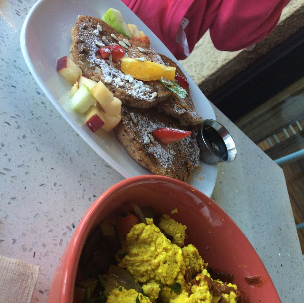 """Photo of JOi Cafe  by <a href=""""/members/profile/Sweganic"""">Sweganic</a> <br/>Scrambled Tofu & Chia Pancakes <br/> February 17, 2015  - <a href='/contact/abuse/image/50969/93430'>Report</a>"""