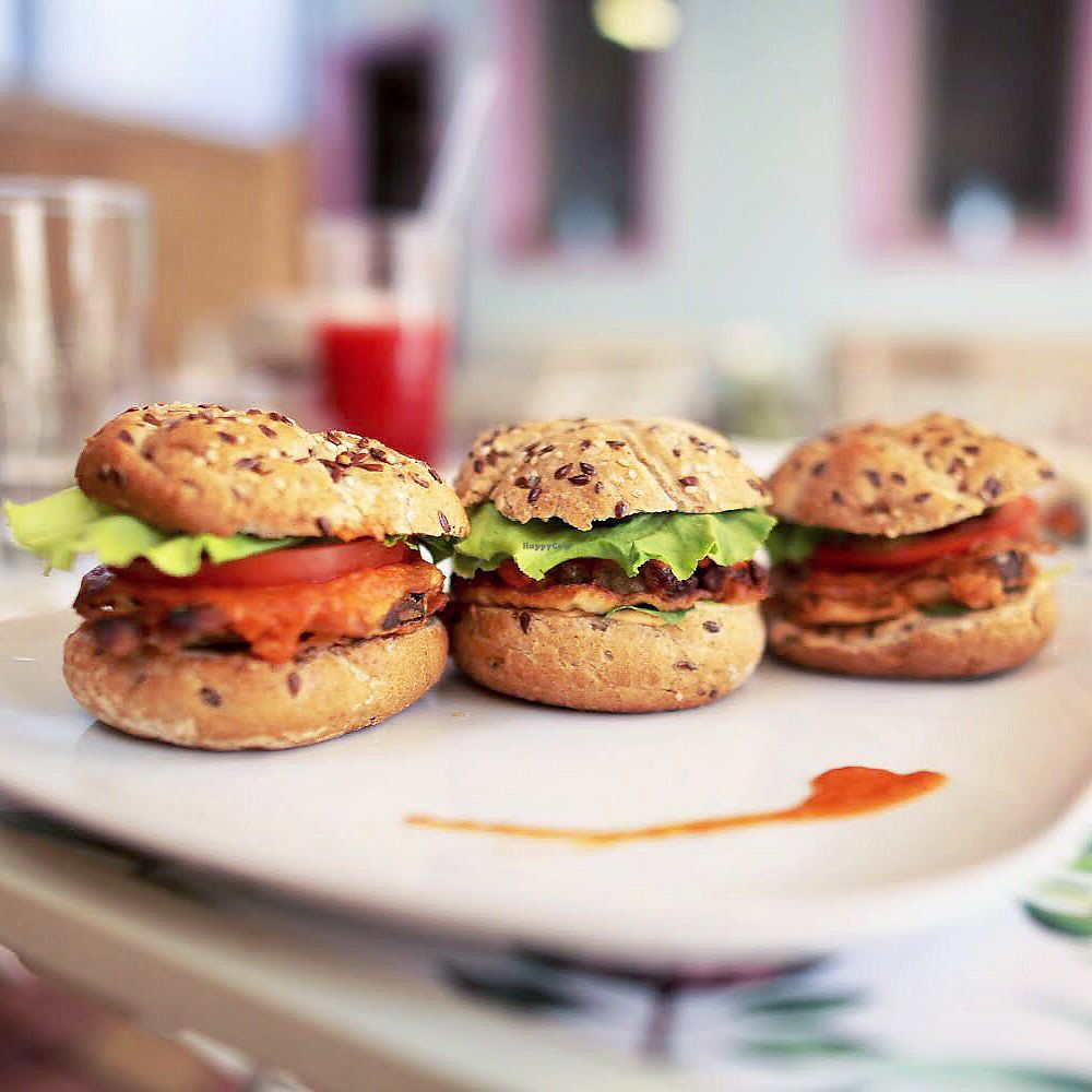 """Photo of Rawmazing  by <a href=""""/members/profile/thecharlotte"""">thecharlotte</a> <br/>Three small aubergine burgers <br/> August 22, 2017  - <a href='/contact/abuse/image/50971/295672'>Report</a>"""