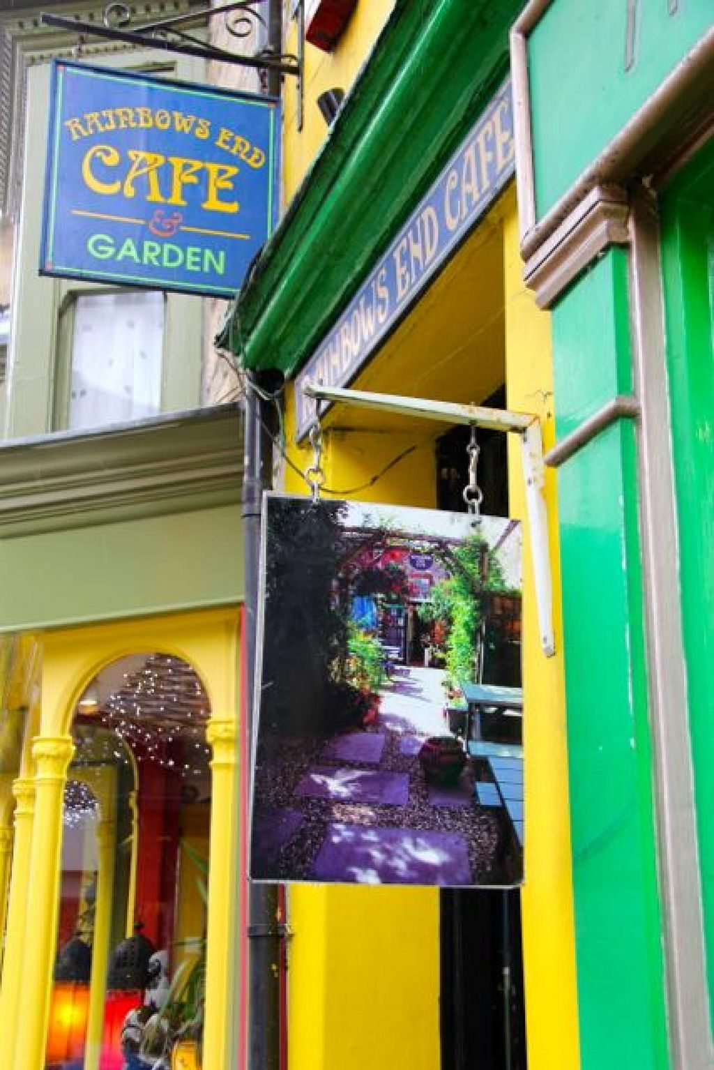 """Photo of Rainbows End Cafe  by <a href=""""/members/profile/trinitybourne"""">trinitybourne</a> <br/>A friendly little hide away directly off the High Street in Glastonbury - look out for the sign <br/> February 9, 2014  - <a href='/contact/abuse/image/5099/64010'>Report</a>"""