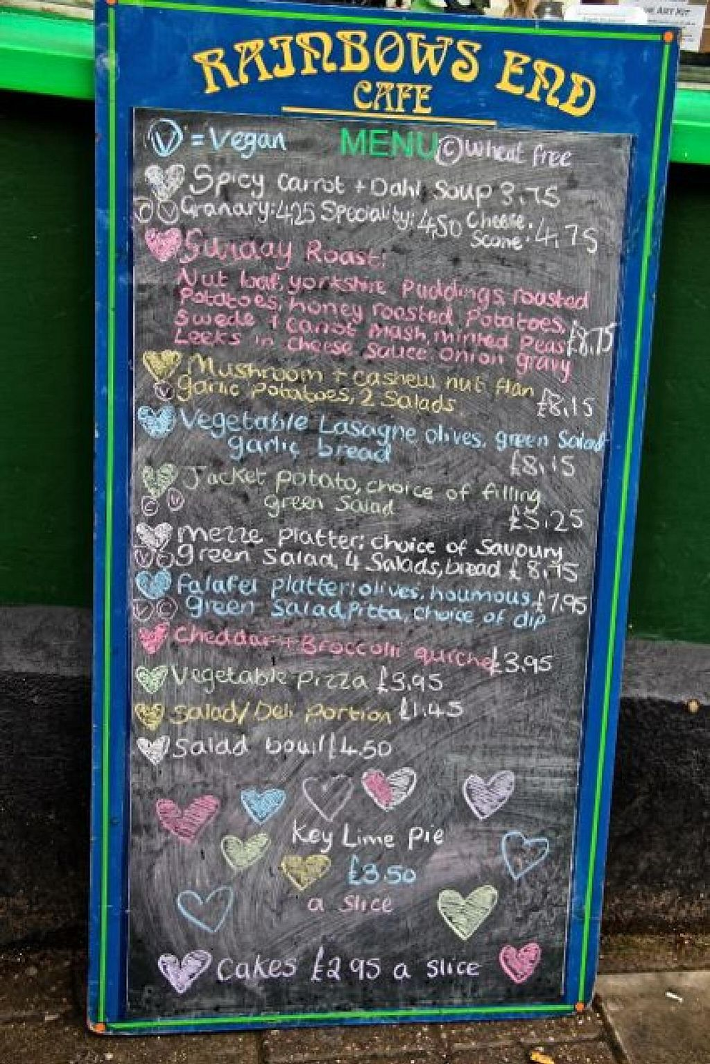 """Photo of Rainbows End Cafe  by <a href=""""/members/profile/trinitybourne"""">trinitybourne</a> <br/>The menu board changes although it has regular choices that are always available. This was the menu on 9th Feb 2014 <br/> February 9, 2014  - <a href='/contact/abuse/image/5099/64011'>Report</a>"""