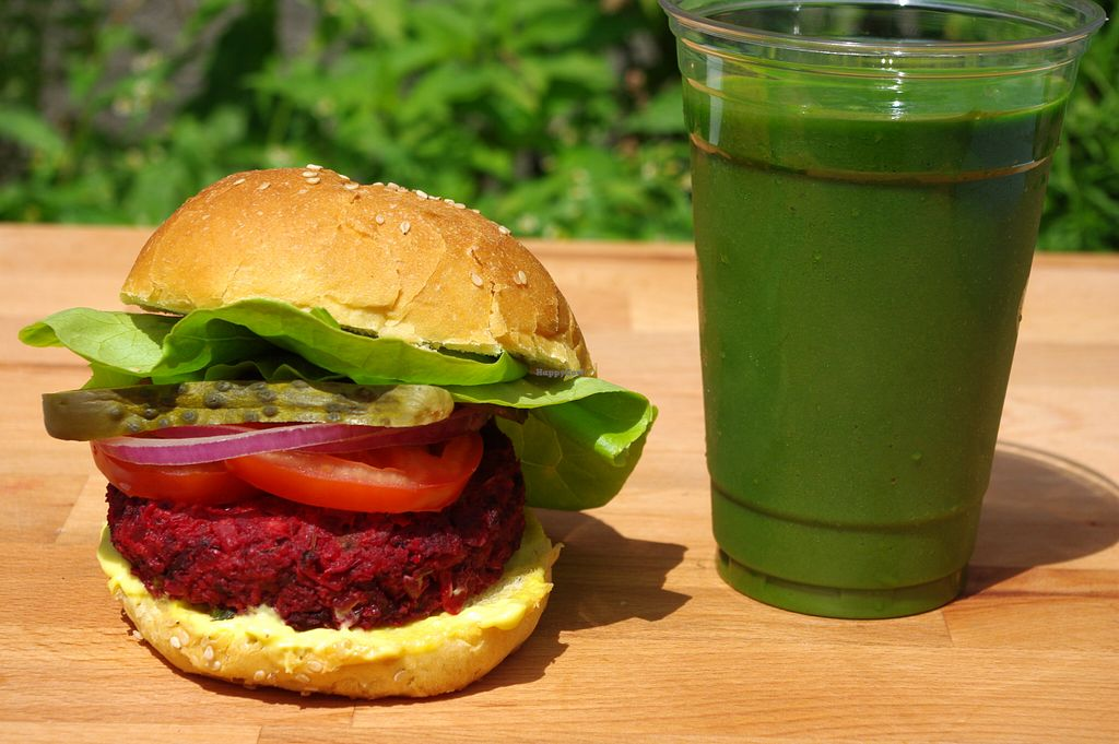 """Photo of CLOSED: Cafe Nutrimania  by <a href=""""/members/profile/cafenutrimania"""">cafenutrimania</a> <br/>The incredible beet burger and the green smoothie ! Another unique combo to Café Nutrimania ! <br/> August 13, 2015  - <a href='/contact/abuse/image/51008/113434'>Report</a>"""