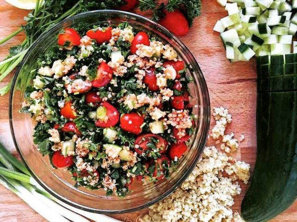 """Photo of CLOSED: Cafe Nutrimania  by <a href=""""/members/profile/cafenutrimania"""">cafenutrimania</a> <br/>Delicious quinoa tabouleh salad <br/> August 13, 2015  - <a href='/contact/abuse/image/51008/113435'>Report</a>"""