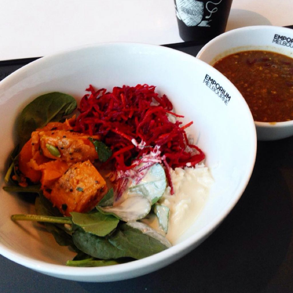 """Photo of CLOSED: Supercharger - The Emporium  by <a href=""""/members/profile/Heutehiermorgendort"""">Heutehiermorgendort</a> <br/>Rice, beet root salad, spinach, sweet potato, tahini sauce & Dahl <br/> December 14, 2015  - <a href='/contact/abuse/image/51092/128444'>Report</a>"""