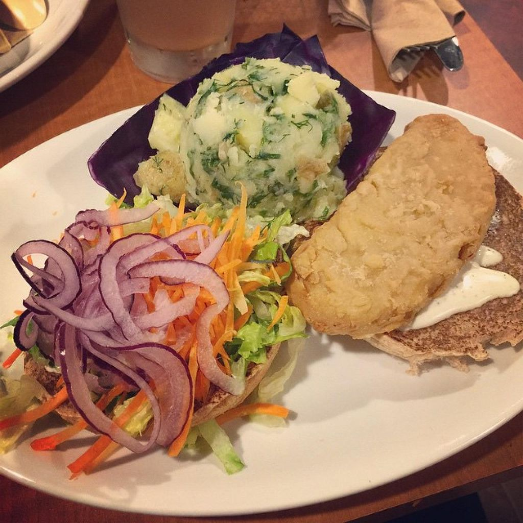 """Photo of CLOSED: Native Foods - Conn Ave  by <a href=""""/members/profile/ohemgee"""">ohemgee</a> <br/>Chicken Run Ranch Burger Crispy battered Native Chicken, ranch dressing, romaine, carrots and shaved red onions. Served on a whole wheat bun <br/> October 10, 2014  - <a href='/contact/abuse/image/51093/82532'>Report</a>"""