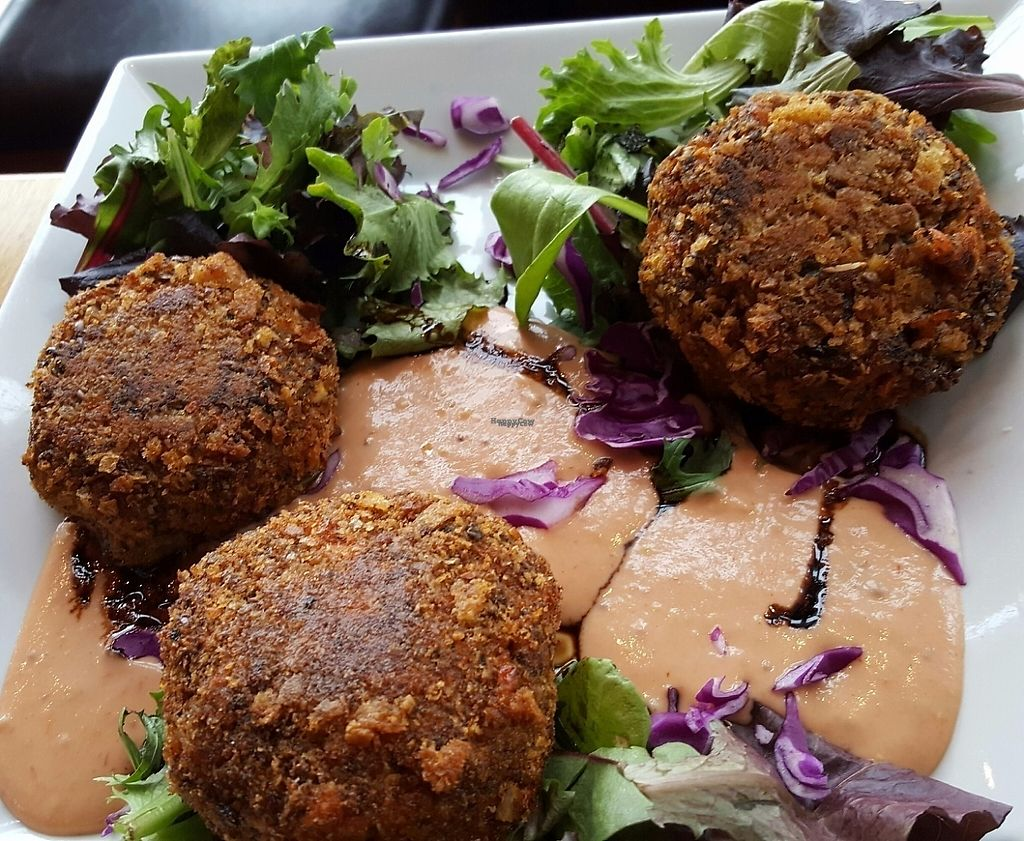 """Photo of Viva  by <a href=""""/members/profile/NamasteUp"""">NamasteUp</a> <br/>Vegan, gluten-free crab cakes (huge portion!) <br/> March 3, 2017  - <a href='/contact/abuse/image/51096/232183'>Report</a>"""