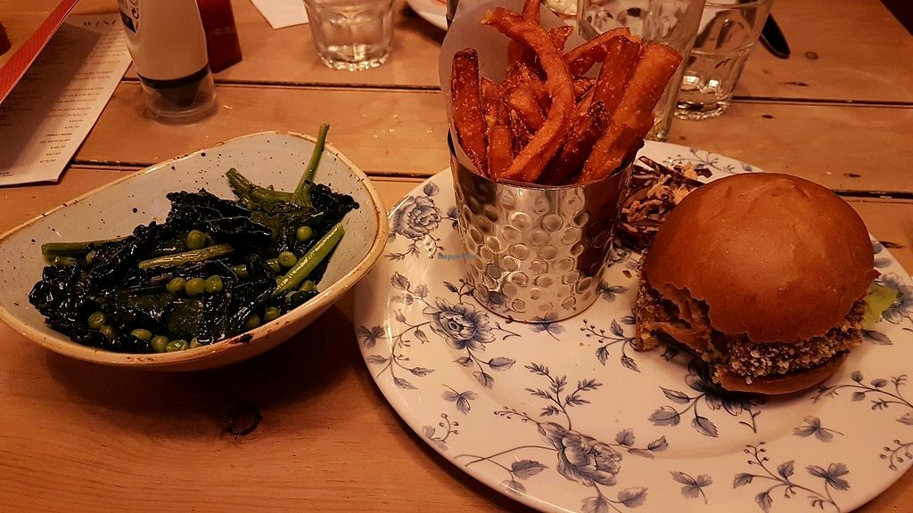 """Photo of The Cosy Club  by <a href=""""/members/profile/MarjoleinVM"""">MarjoleinVM</a> <br/>'Thai veggie' with sweet potato fries and a side of green vegetables <br/> April 10, 2018  - <a href='/contact/abuse/image/51111/383221'>Report</a>"""