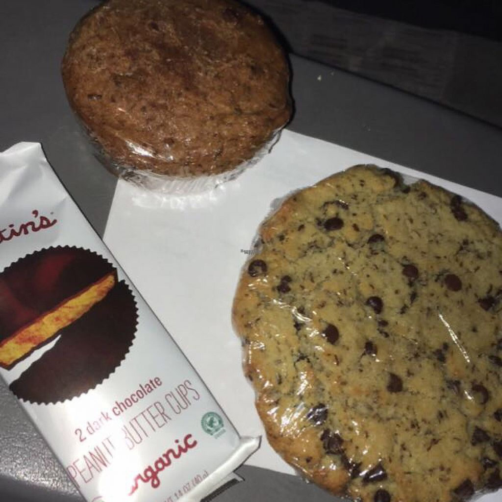 """Photo of zpizza  by <a href=""""/members/profile/Judahsunshine"""">Judahsunshine</a> <br/>vegan treats :D gf Choco chip cookie, banana muffin and pb cups <br/> November 11, 2016  - <a href='/contact/abuse/image/51181/188392'>Report</a>"""