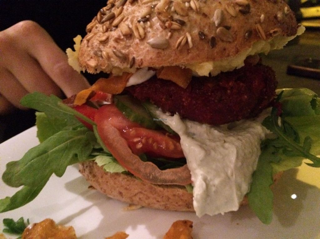 """Photo of CLOSED: vb veganburgers  by <a href=""""/members/profile/Beaa"""">Beaa</a> <br/>spicy beetroot burger <br/> November 12, 2015  - <a href='/contact/abuse/image/51207/124721'>Report</a>"""