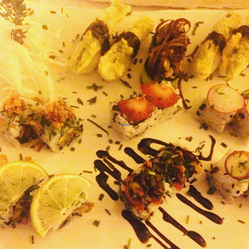 """Photo of SHU AKA  by <a href=""""/members/profile/MarthaKB"""">MarthaKB</a> <br/>vegan sushi platter  <br/> December 30, 2016  - <a href='/contact/abuse/image/51211/206372'>Report</a>"""