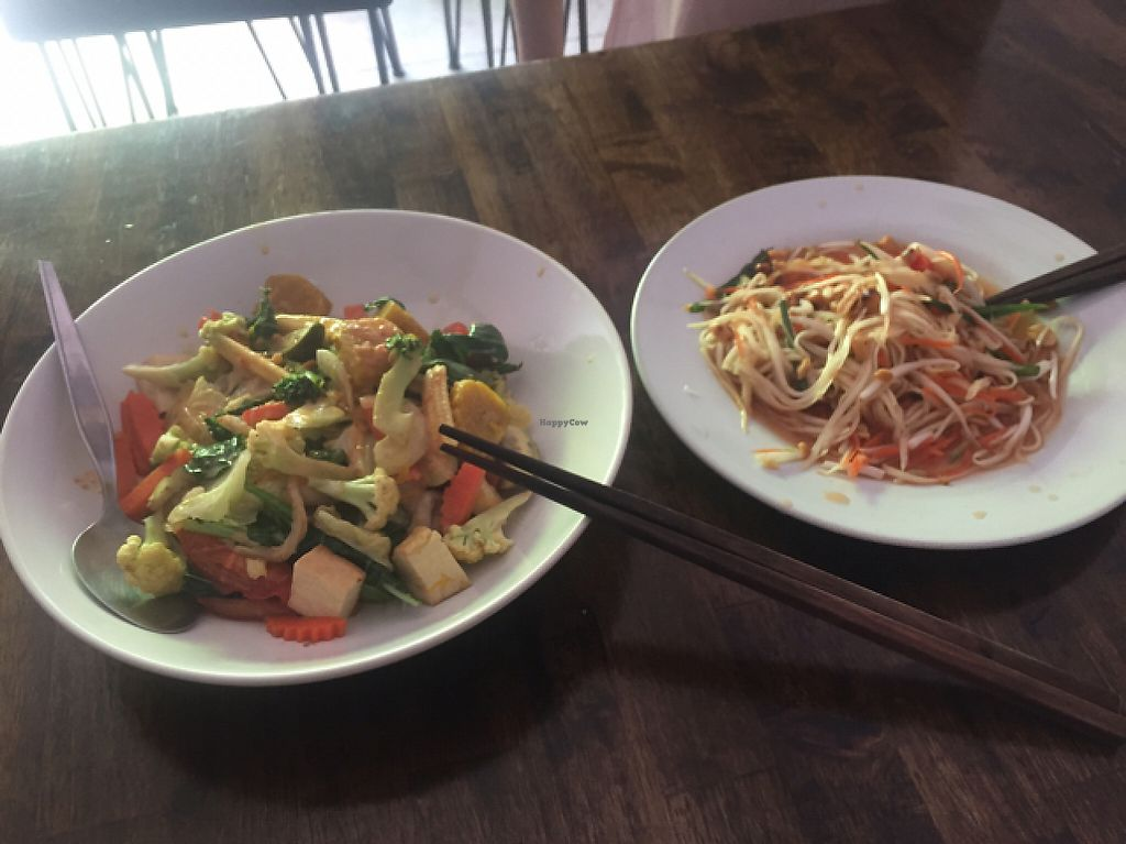 """Photo of May Kaidee - Chiang Mai  by <a href=""""/members/profile/kate.sugak"""">kate.sugak</a> <br/>green curry noodles and green papaya salad - super yummy <br/> May 8, 2017  - <a href='/contact/abuse/image/51213/257239'>Report</a>"""