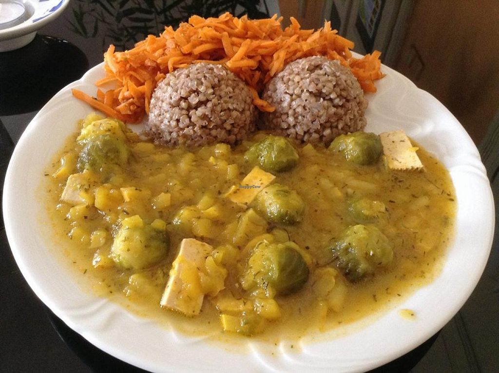 """Photo of HalmiSpace  by <a href=""""/members/profile/elbobro"""">elbobro</a> <br/>sabji from pumpkin, brussel sprouts and tofu with buckwheat, carrot salad with dried tomatoes (soup, cake and tea not on picture) <br/> October 16, 2014  - <a href='/contact/abuse/image/51215/83064'>Report</a>"""