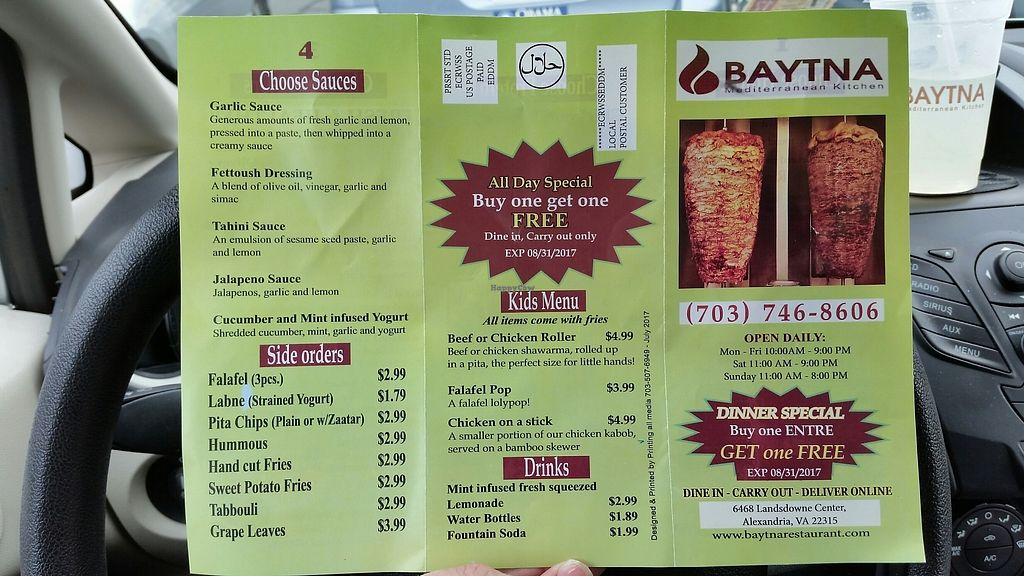 """Photo of CLOSED: Baytna Mediterranean Kitchen  by <a href=""""/members/profile/TheCopperValkyrie"""">TheCopperValkyrie</a> <br/>menu side 2 <br/> July 29, 2017  - <a href='/contact/abuse/image/51252/286424'>Report</a>"""