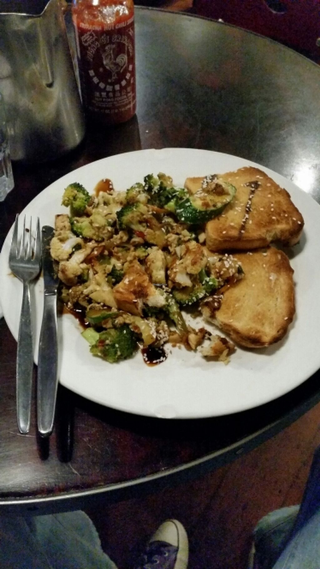 "Photo of Midnight Espresso Bar  by <a href=""/members/profile/AndyTheVWDude"">AndyTheVWDude</a> <br/>Scrambled tofu with vege & chilli sauce ~ Tasty! <br/> May 7, 2016  - <a href='/contact/abuse/image/5126/147889'>Report</a>"