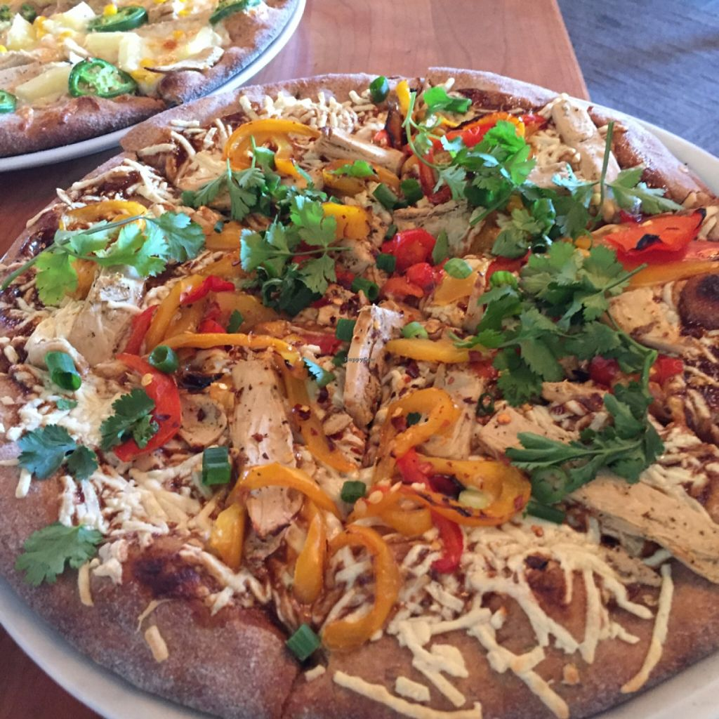 "Photo of Picazzo's Organic Italian Kitchen  by <a href=""/members/profile/veggie_ween"">veggie_ween</a> <br/>Thai peanut pizza with Beyond Meat chicken and Daiya mozzarella.  <br/> January 28, 2016  - <a href='/contact/abuse/image/51272/134010'>Report</a>"