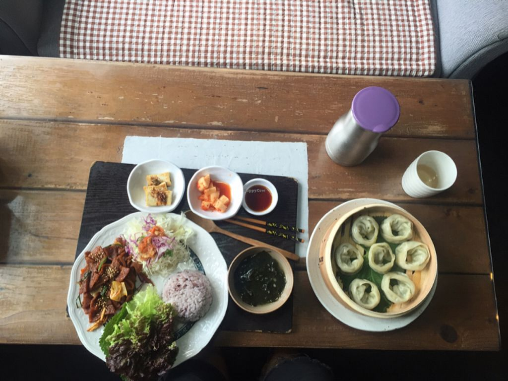 "Photo of Dajeon Cafe  by <a href=""/members/profile/E7iu5tyt"">E7iu5tyt</a> <br/>vegan bulgogi and dumplings <br/> June 14, 2016  - <a href='/contact/abuse/image/51276/153804'>Report</a>"