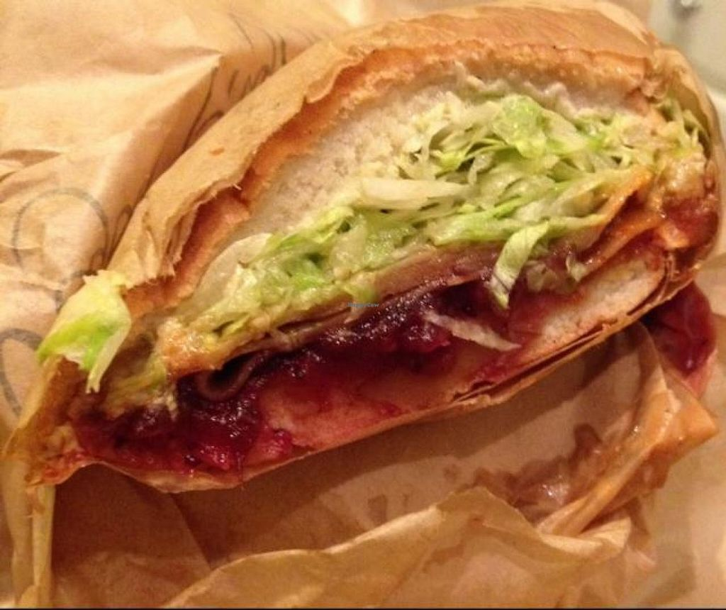 """Photo of Ike's  by <a href=""""/members/profile/Tigra220"""">Tigra220</a> <br/>Vegan Pilgrim (vegan turkey, cranberry sauce, Sriracha, vegan dirty sauce + lettuce) on french bread <br/> September 24, 2014  - <a href='/contact/abuse/image/51280/80993'>Report</a>"""