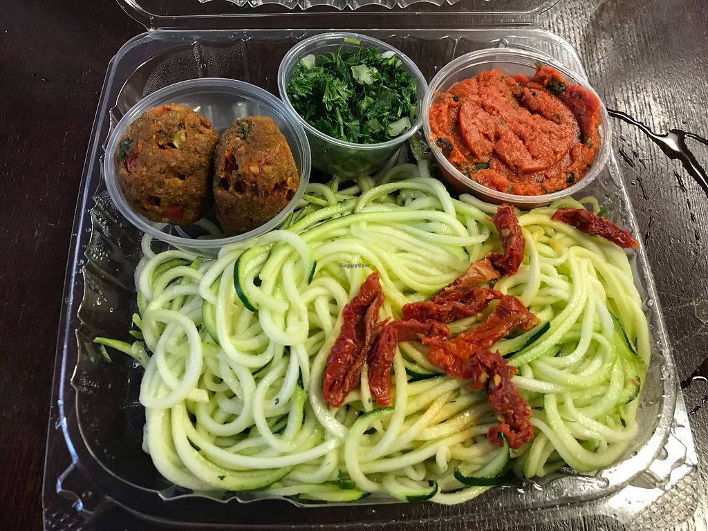 """Photo of Chicago Raw  by <a href=""""/members/profile/mads_1688"""">mads_1688</a> <br/>Zucchini spaghetti with marinara sauce, """"meatballs,"""" and greens <br/> January 14, 2018  - <a href='/contact/abuse/image/51283/346595'>Report</a>"""