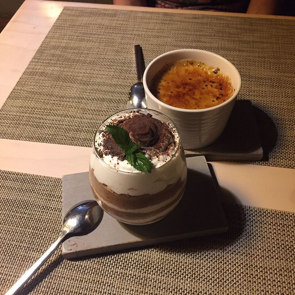 """Photo of Soul R. Vegan Cafe  by <a href=""""/members/profile/FlokiTheCat"""">FlokiTheCat</a> <br/>Tiramisu and creme brulee <br/> July 31, 2017  - <a href='/contact/abuse/image/51321/287090'>Report</a>"""