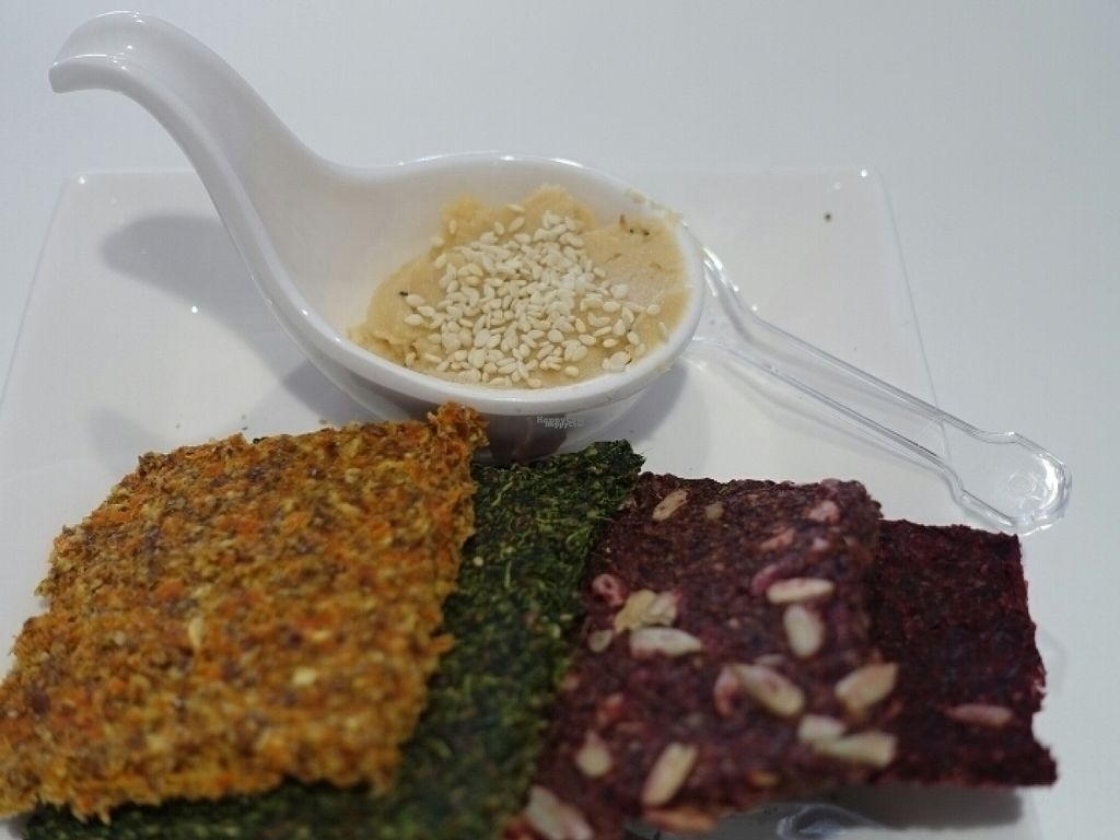 """Photo of Daily Juice  by <a href=""""/members/profile/JimmySeah"""">JimmySeah</a> <br/>Dehydrated flaxseed cracker with dip <br/> August 8, 2016  - <a href='/contact/abuse/image/51393/166800'>Report</a>"""