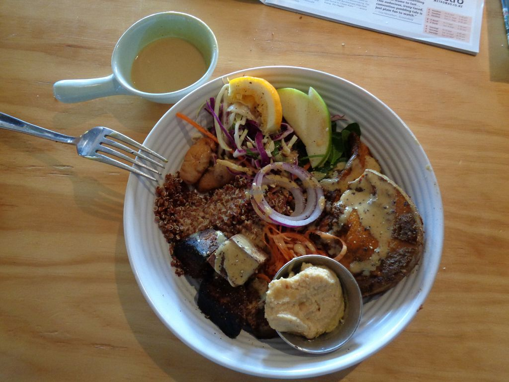 """Photo of Two Birds Eatery  by <a href=""""/members/profile/citizenInsane"""">citizenInsane</a> <br/>""""nourish bowl"""", always lovely, with kinoa, roasted pumpkin, humus, salads, grains and a great dressing <br/> August 29, 2016  - <a href='/contact/abuse/image/51422/172127'>Report</a>"""