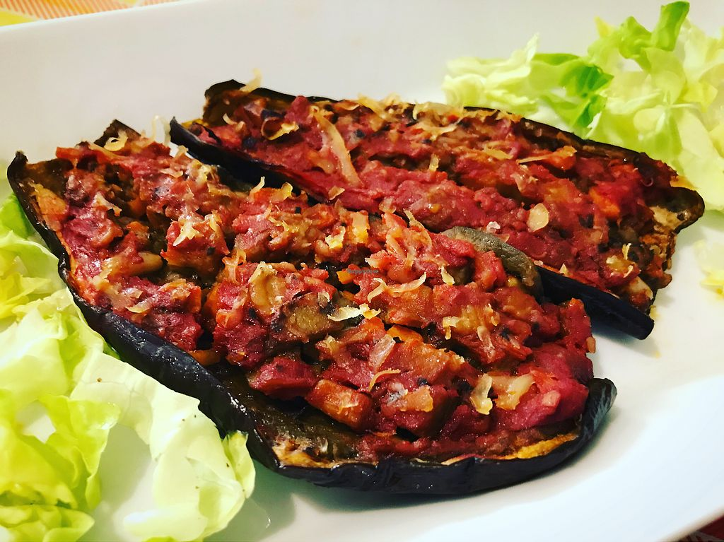 """Photo of Sbuccia e Bevi - Green Fruit Bar  by <a href=""""/members/profile/JenniferNielsen"""">JenniferNielsen</a> <br/>Grilled Eggplants with tomatoes, herbs and salad <br/> October 12, 2017  - <a href='/contact/abuse/image/51427/314621'>Report</a>"""