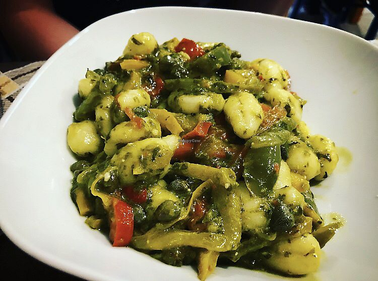 """Photo of Sbuccia e Bevi - Green Fruit Bar  by <a href=""""/members/profile/JenniferNielsen"""">JenniferNielsen</a> <br/>Gnocchi with pepperoni and basil sauce <br/> October 14, 2017  - <a href='/contact/abuse/image/51427/315080'>Report</a>"""