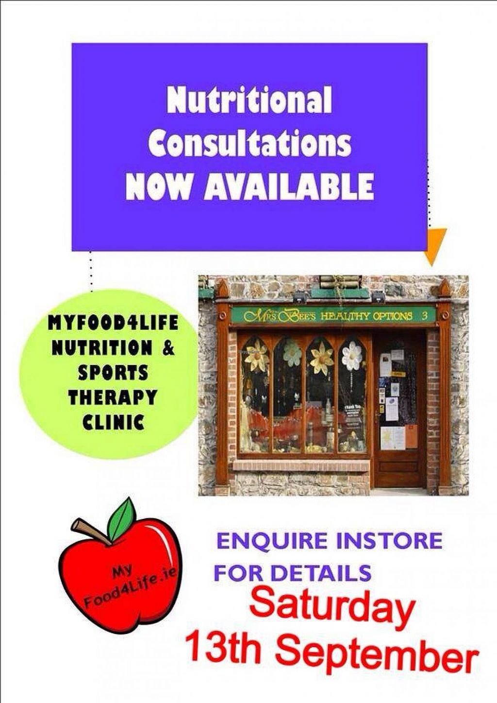 "Photo of Mrs. Bee's Healthy Options  by <a href=""/members/profile/Venusr84"">Venusr84</a> <br/>Lisa O'Brien is back giving one on one consultations in September. Call in for a consultation form and your half price voucher <br/> October 3, 2014  - <a href='/contact/abuse/image/51430/82031'>Report</a>"