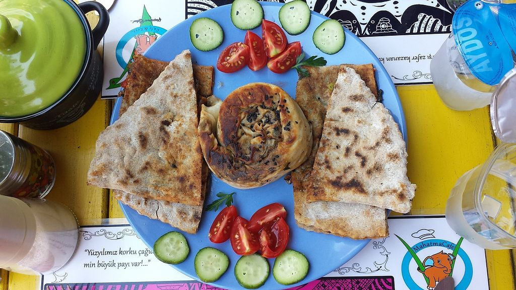 "Photo of Mahatma Cafe  by <a href=""/members/profile/NievesR"">NievesR</a> <br/>Aubergine Börek and spinach bread. Hot and tasty <br/> July 24, 2017  - <a href='/contact/abuse/image/51479/284403'>Report</a>"