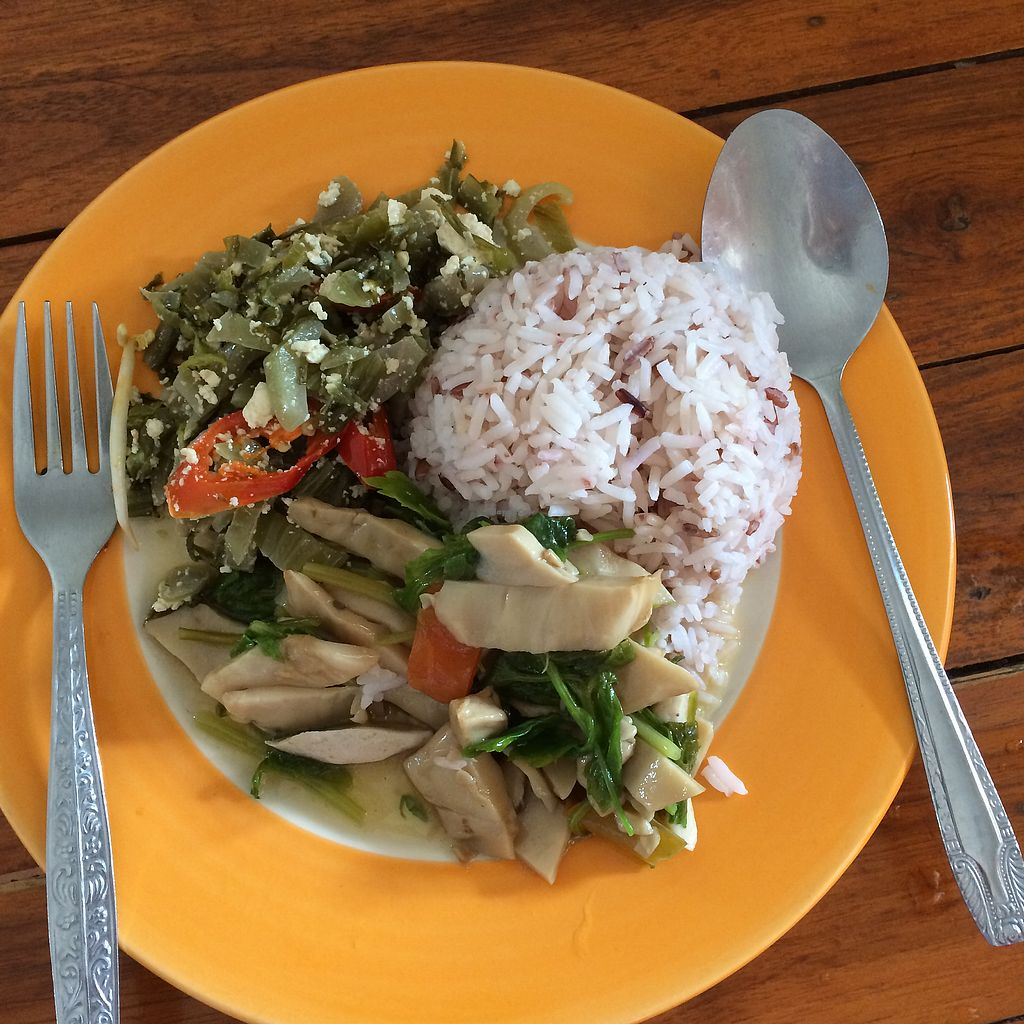 "Photo of Porwin Vegetarian  by <a href=""/members/profile/evoontoast"">evoontoast</a> <br/>rice with two choices = 35 baht! <br/> August 11, 2017  - <a href='/contact/abuse/image/5149/291438'>Report</a>"