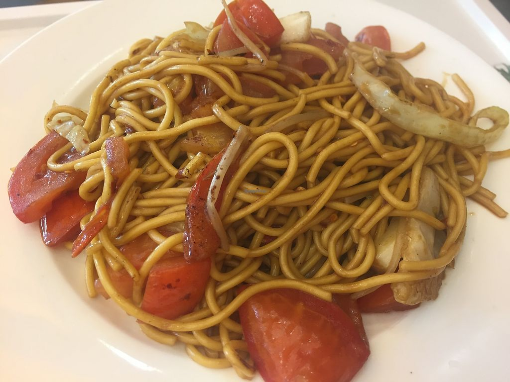 """Photo of Tishifang Tea House - Kowloon Bay  by <a href=""""/members/profile/SamanthaIngridHo"""">SamanthaIngridHo</a> <br/>Fried noodles with tomato and veggie <br/> August 22, 2017  - <a href='/contact/abuse/image/51534/295712'>Report</a>"""