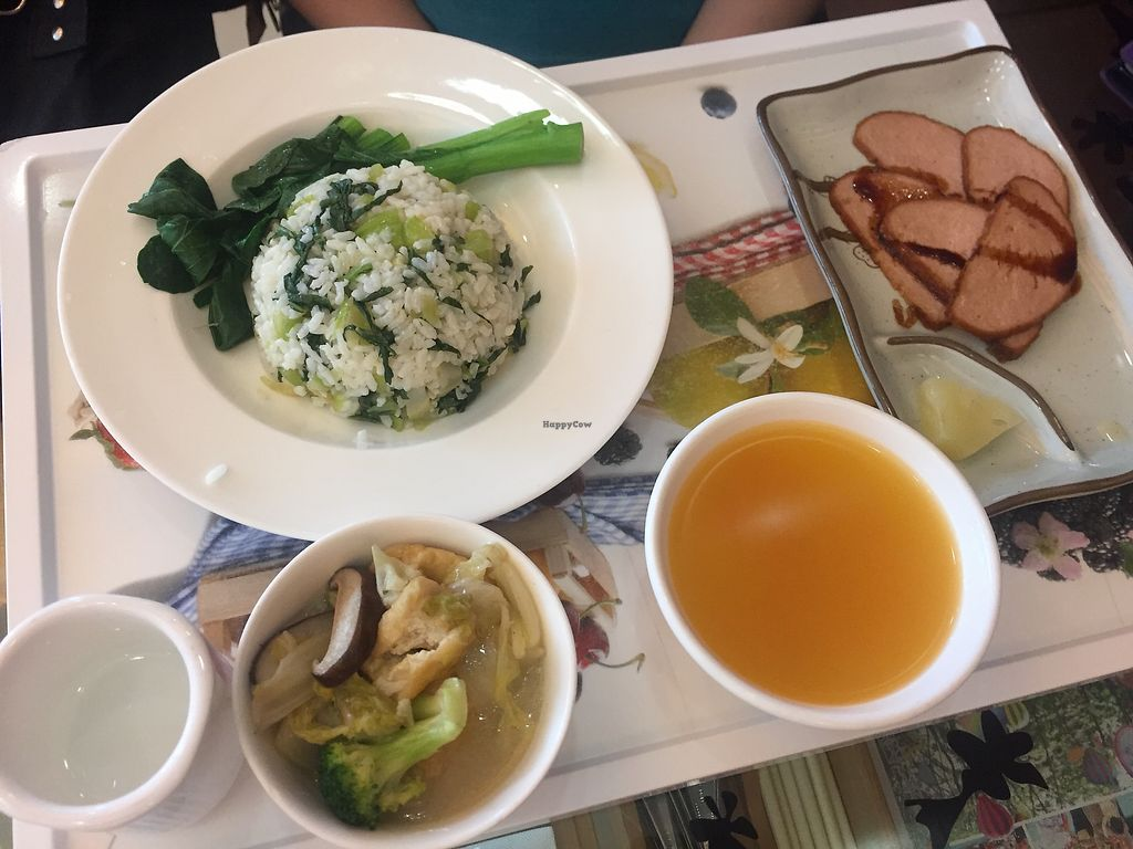 """Photo of Tishifang Tea House - Kowloon Bay  by <a href=""""/members/profile/SamanthaIngridHo"""">SamanthaIngridHo</a> <br/>Meal set: veggie rice, vegetarian eel, veggie stir-fry <br/> August 22, 2017  - <a href='/contact/abuse/image/51534/295713'>Report</a>"""
