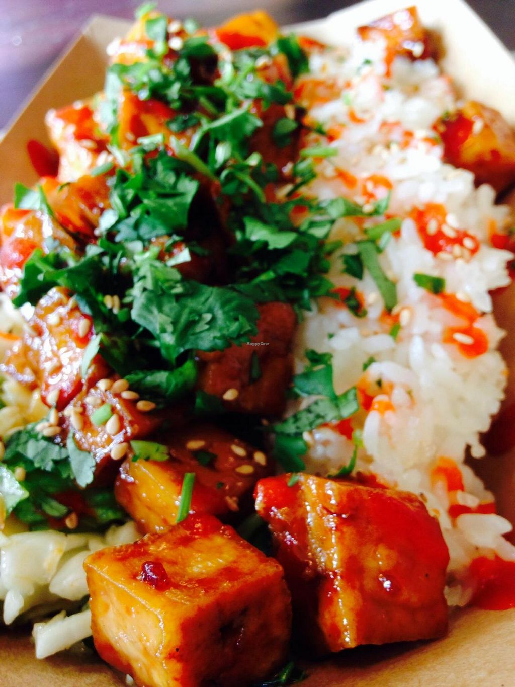 """Photo of TaKorean Korean BBQ Tacos  by <a href=""""/members/profile/cookiem"""">cookiem</a> <br/>Half napa-romaine slaw half rice caramelized tofu bowl <br/> September 21, 2014  - <a href='/contact/abuse/image/51543/80627'>Report</a>"""