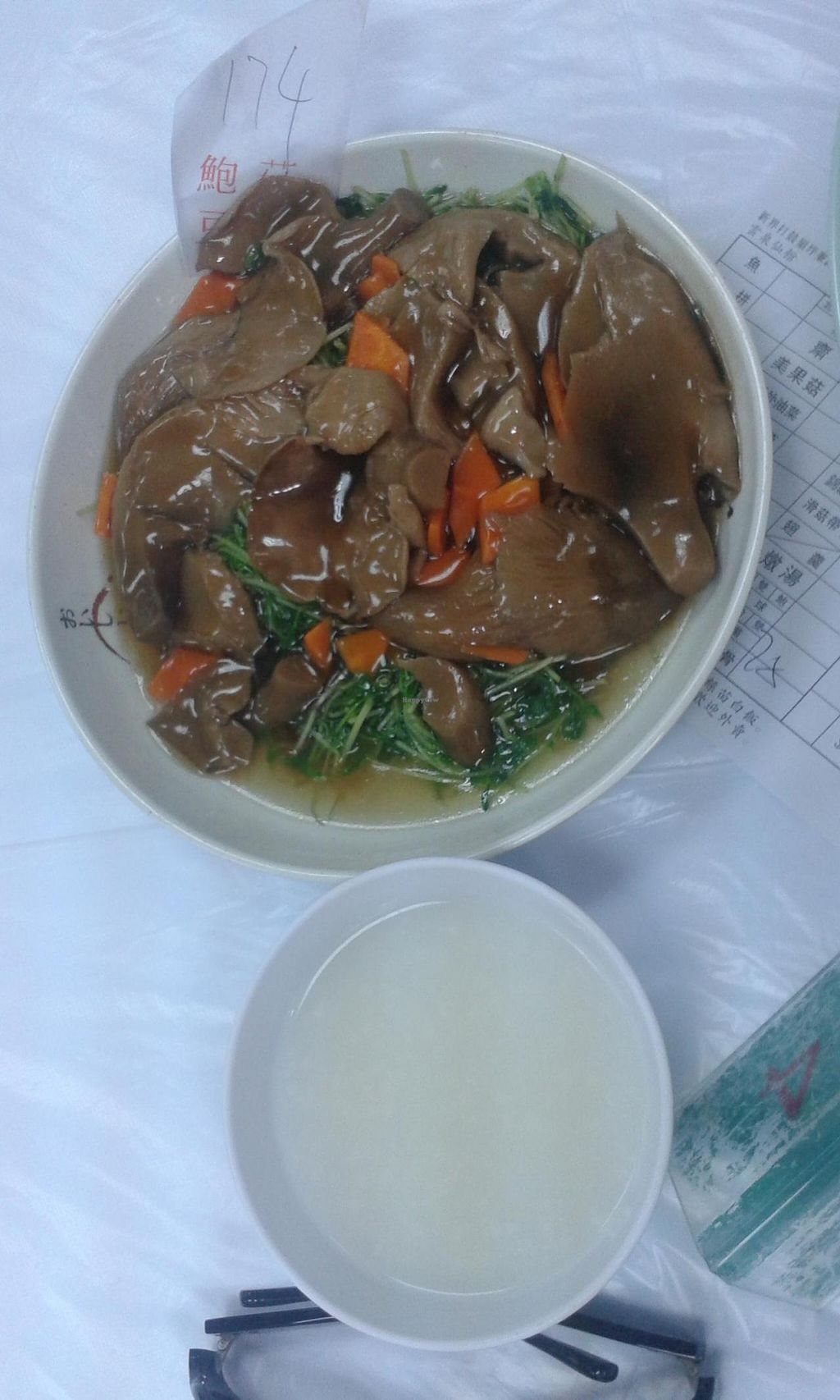"""Photo of Wun Chuen Vegetarian Centre  by <a href=""""/members/profile/Stevie"""">Stevie</a> <br/>Mushroom with carrot and green stuff <br/> May 25, 2015  - <a href='/contact/abuse/image/51564/103330'>Report</a>"""