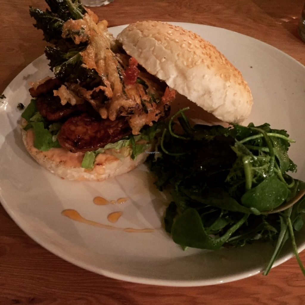 """Photo of Curly Kale Cafe  by <a href=""""/members/profile/freya2770"""">freya2770</a> <br/>Tempeh burger: smoky tempeh steaks with beetroot relish and seasonal veg fritter <br/> May 7, 2016  - <a href='/contact/abuse/image/51608/147907'>Report</a>"""