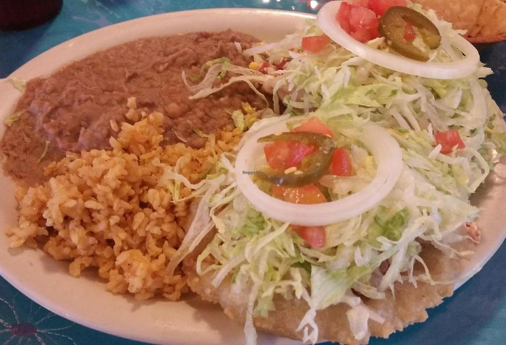 "Photo of La Fiesta Patio Cafe  by <a href=""/members/profile/MelissaLarson"">MelissaLarson</a> <br/>Vegan Puffy Tacos lunch special. 2 tofu puffy tacos with 2 sides (brown rice and pinto beans). $7.45 includes iced tea or coffee <br/> October 2, 2014  - <a href='/contact/abuse/image/51615/230244'>Report</a>"