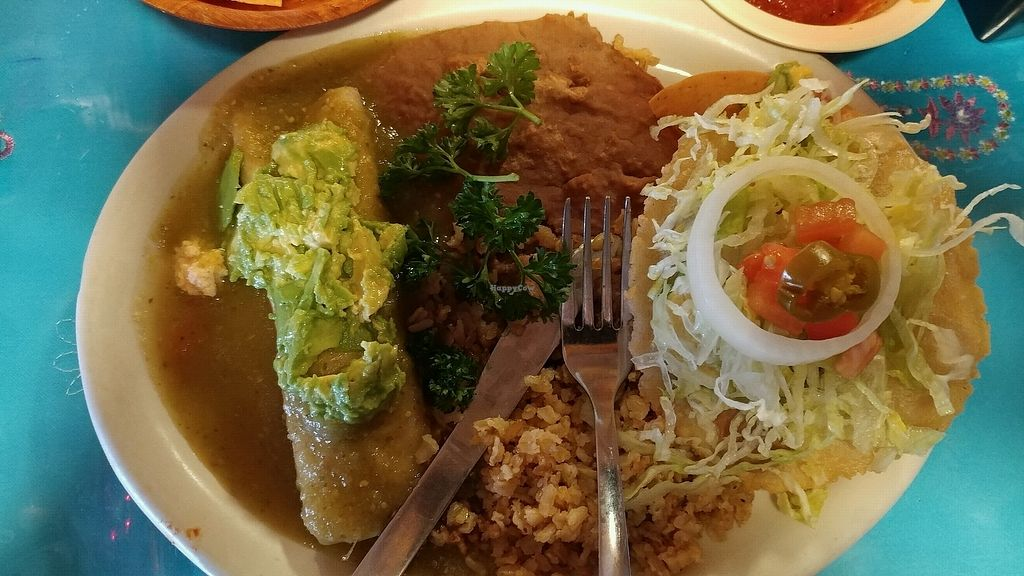 "Photo of La Fiesta Patio Cafe  by <a href=""/members/profile/Emi.S"">Emi.S</a> <br/>Vegan tofu enchilada and avocado puffy taco <br/> January 8, 2018  - <a href='/contact/abuse/image/51615/344485'>Report</a>"