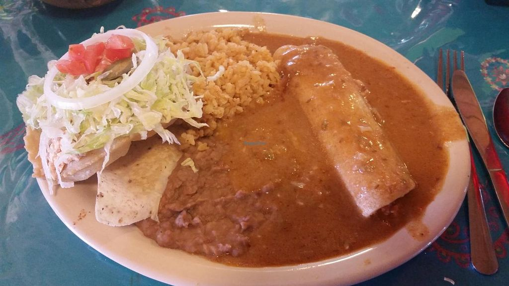 "Photo of La Fiesta Patio Cafe  by <a href=""/members/profile/MelissaLarson"">MelissaLarson</a> <br/>Vegan Lunch Special. 1 tofu puffy taco. 1 tofu enchilada. 2 sides. Brown rice and pinto beans. $6.45 iced tea or coffee included <br/> October 2, 2014  - <a href='/contact/abuse/image/51615/81937'>Report</a>"