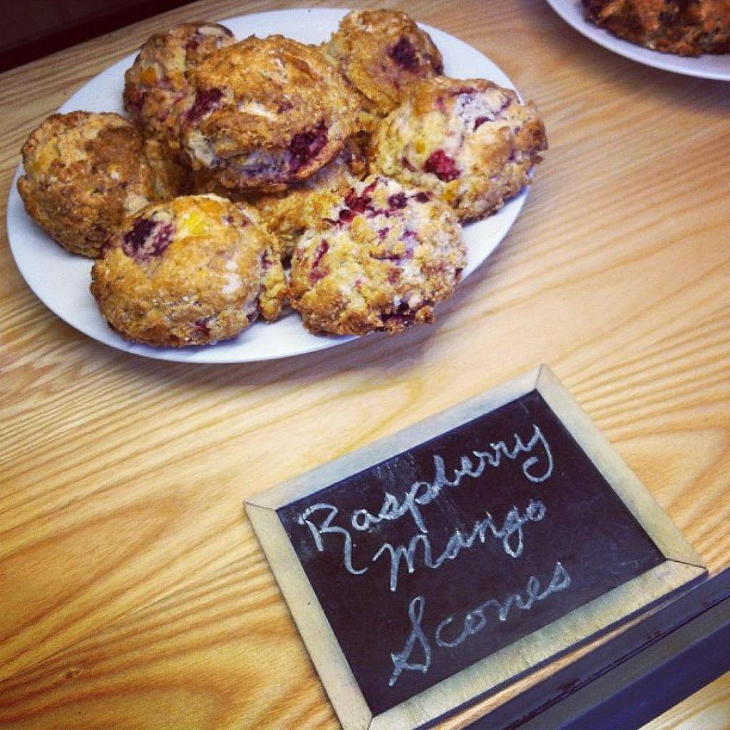 """Photo of White Heron Tea and Coffee  by <a href=""""/members/profile/community"""">community</a> <br/>raspberry mango scones  <br/> October 1, 2014  - <a href='/contact/abuse/image/51628/81769'>Report</a>"""