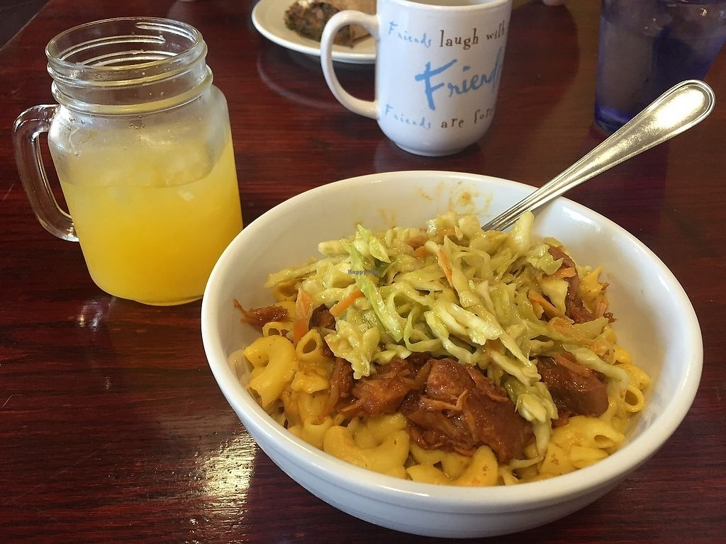 """Photo of The Farm Concessions and Café  by <a href=""""/members/profile/NorthernStar"""">NorthernStar</a> <br/>Vegan mac with cashew cheez sauce, BBQ jack fruit and cabbage slaw <br/> September 16, 2017  - <a href='/contact/abuse/image/51695/305144'>Report</a>"""