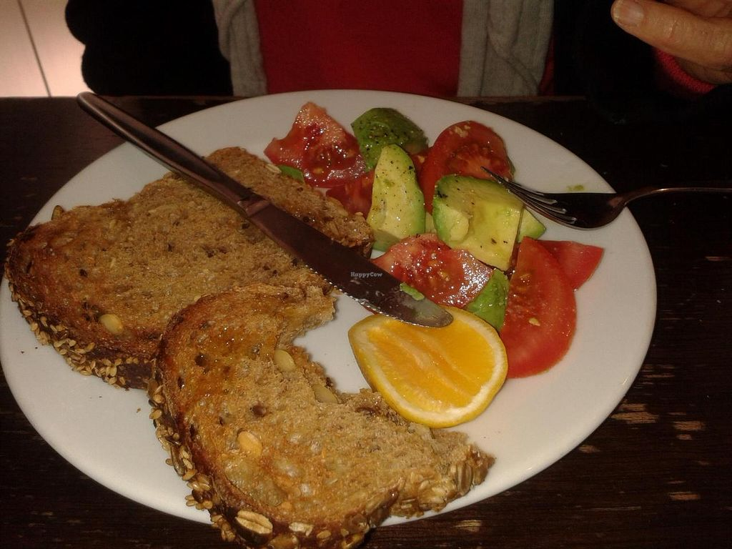 """Photo of River Kitchen  by <a href=""""/members/profile/Veganswife"""">Veganswife</a> <br/>Avocado and tomato nine grain toast for breakfast. One of the vegan options <br/> September 29, 2014  - <a href='/contact/abuse/image/51718/81639'>Report</a>"""