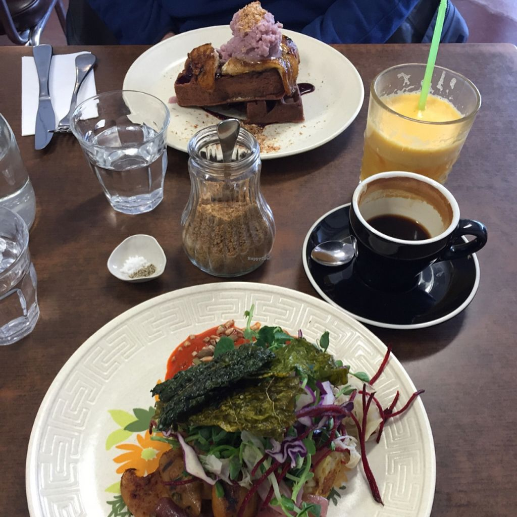 """Photo of Straight Up  by <a href=""""/members/profile/Juliaalb"""">Juliaalb</a> <br/>Brekkie waffles and mushroom w potato hash (all vegan) <br/> January 25, 2016  - <a href='/contact/abuse/image/51772/133661'>Report</a>"""