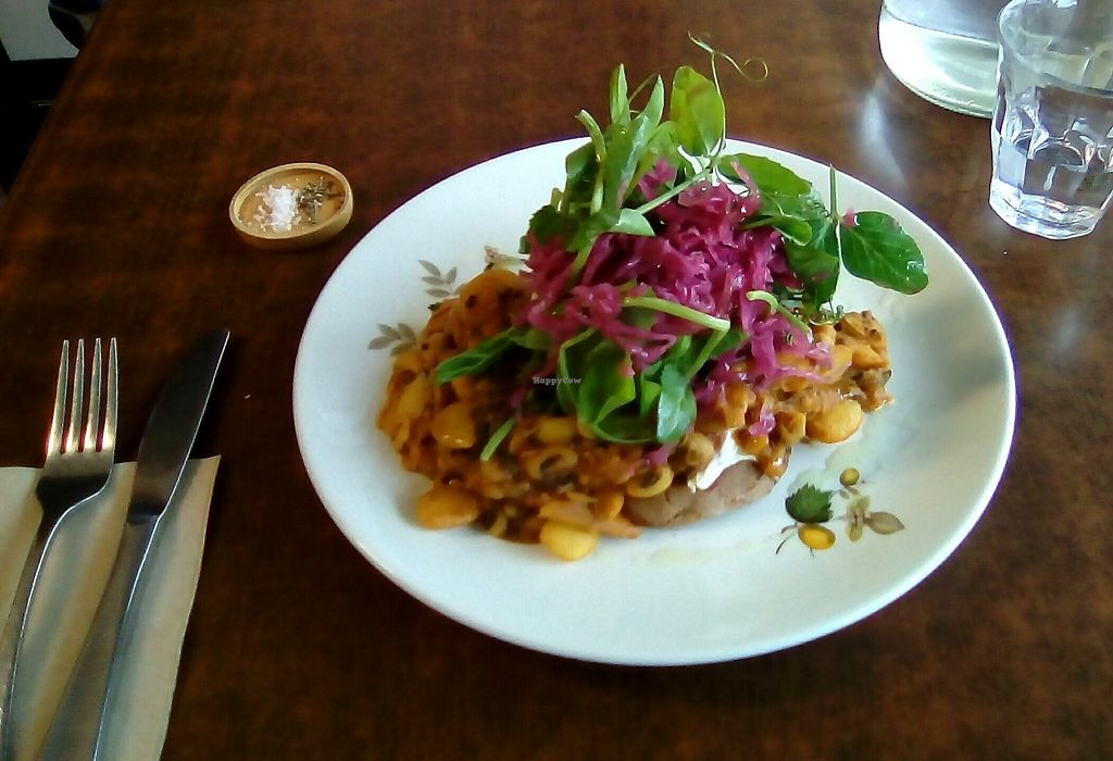 """Photo of Straight Up  by <a href=""""/members/profile/citizenInsane"""">citizenInsane</a> <br/>Horrible photo, for a very delicious dish of beans on dark toast, + sauerkraut and greens <br/> March 28, 2018  - <a href='/contact/abuse/image/51772/377140'>Report</a>"""