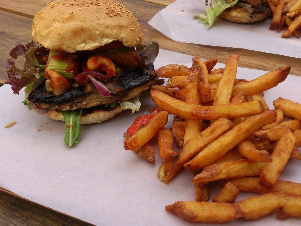 """Photo of Gutburgerlich  by <a href=""""/members/profile/Tank242"""">Tank242</a> <br/>W - O - W - spicy vegan Portobello burger stuffed with vegetables, monster fries <br/> October 6, 2014  - <a href='/contact/abuse/image/51808/82266'>Report</a>"""
