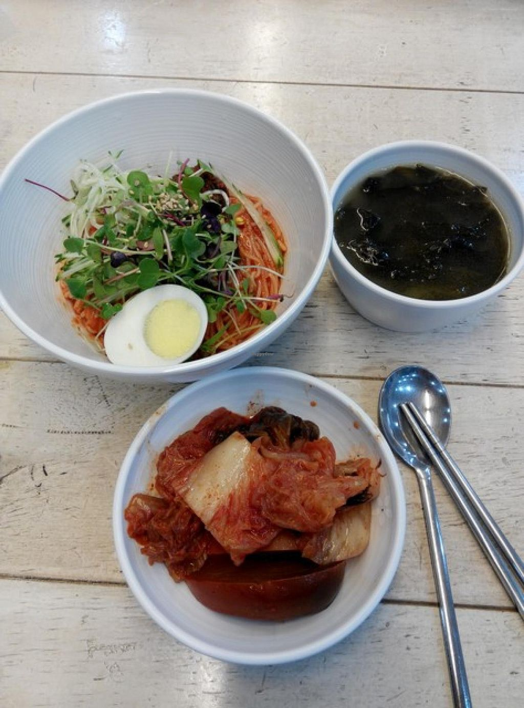 """Photo of Jogyesa Kitchen - 조계사 승소  by <a href=""""/members/profile/LaiNamKhim"""">LaiNamKhim</a> <br/>Bibim noodles, with sides of kimchi and seaweed soup <br/> October 3, 2014  - <a href='/contact/abuse/image/51859/82028'>Report</a>"""