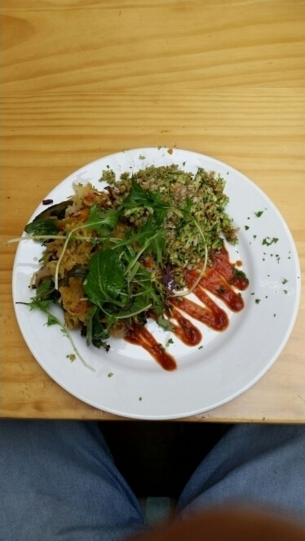 """Photo of Cafe Royale  by <a href=""""/members/profile/AndyTheVWDude"""">AndyTheVWDude</a> <br/>Delicious Potato & Vege Stack with Raw Broccoli Salad ~Aug '16 <br/> August 6, 2016  - <a href='/contact/abuse/image/51920/166352'>Report</a>"""