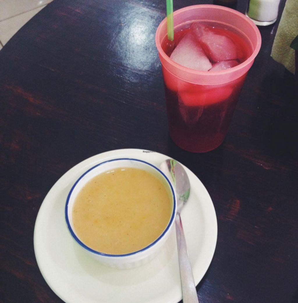 """Photo of Go Vegan  by <a href=""""/members/profile/MO.MARIEL"""">MO.MARIEL</a> <br/>hibiscus juice and potatoe soup <br/> February 26, 2015  - <a href='/contact/abuse/image/51922/94257'>Report</a>"""