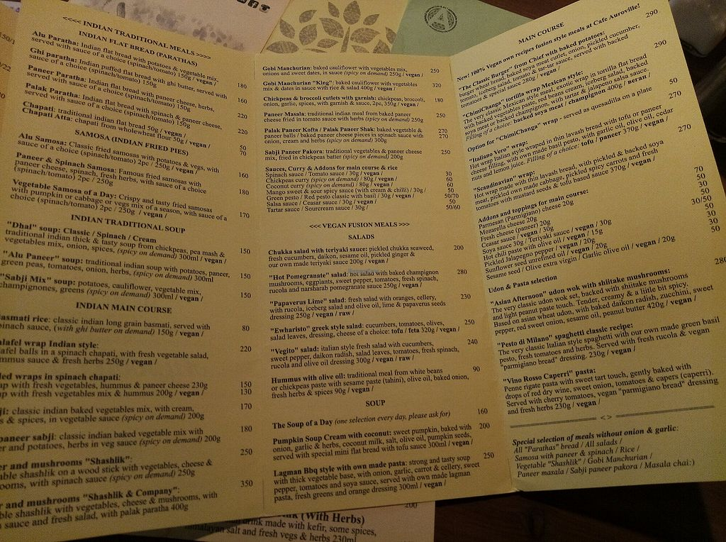 """Photo of Auroville Vegetarian Cafe and Art  by <a href=""""/members/profile/Sammylee"""">Sammylee</a> <br/>menu <br/> April 23, 2018  - <a href='/contact/abuse/image/51958/389921'>Report</a>"""