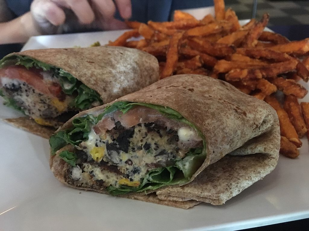 """Photo of Lost Dog Cafe  by <a href=""""/members/profile/chapstick"""">chapstick</a> <br/>quinoa wrap with sweet potato fries <br/> August 10, 2017  - <a href='/contact/abuse/image/52043/291232'>Report</a>"""